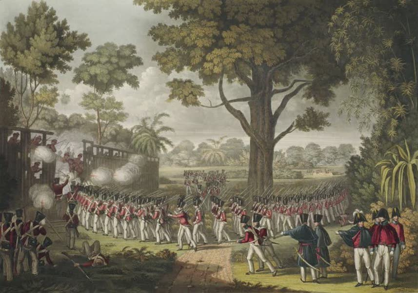 Eighteen Views taken at and near Rangoon - The Storming of the Lesser Stockade at Kemmendine near Rangoon on the 10th of June 1824 (1826)