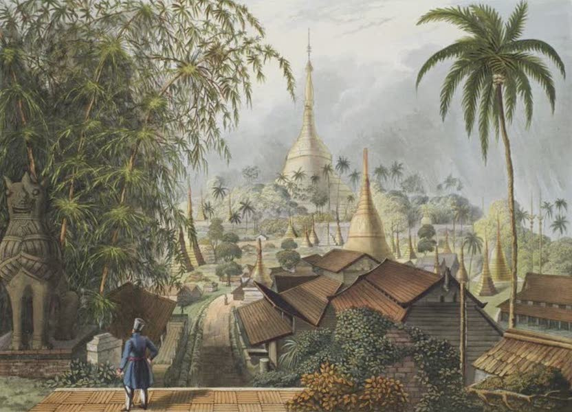 Eighteen Views taken at and near Rangoon - View of the Great Dagon Pagoda and adjacent Scenery taken on the Eastern Road from Rangoon (1826)