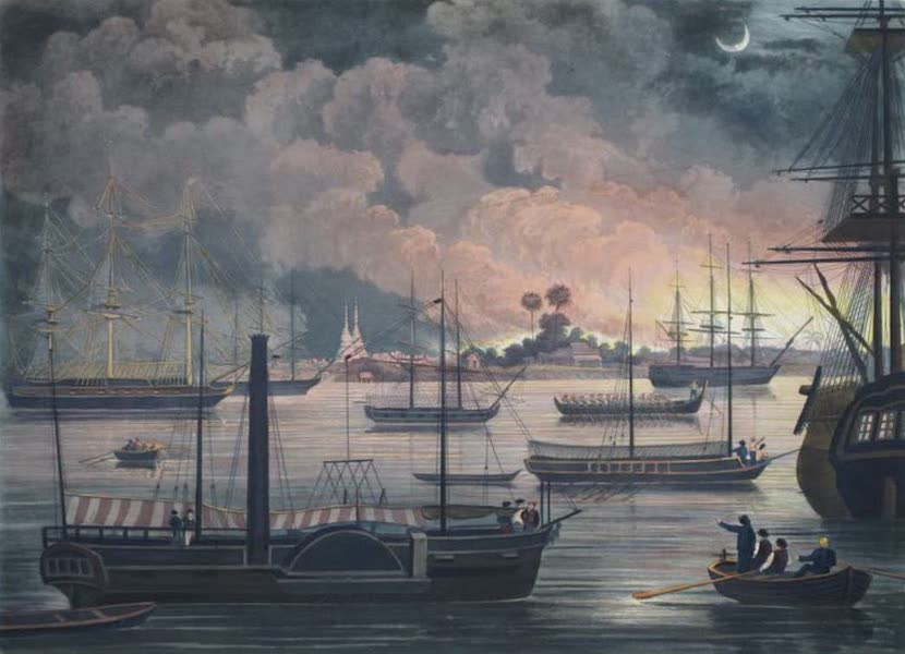 Eighteen Views taken at and near Rangoon - The Conflagration of Dalla on the Tangoon River (1826)