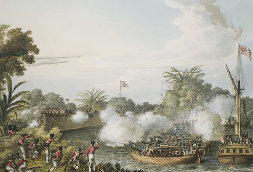 Eighteen Views taken at and near Rangoon - The attack of the Dalla Stockade by the Combined Forces, on the 4th September 1824 (1826)