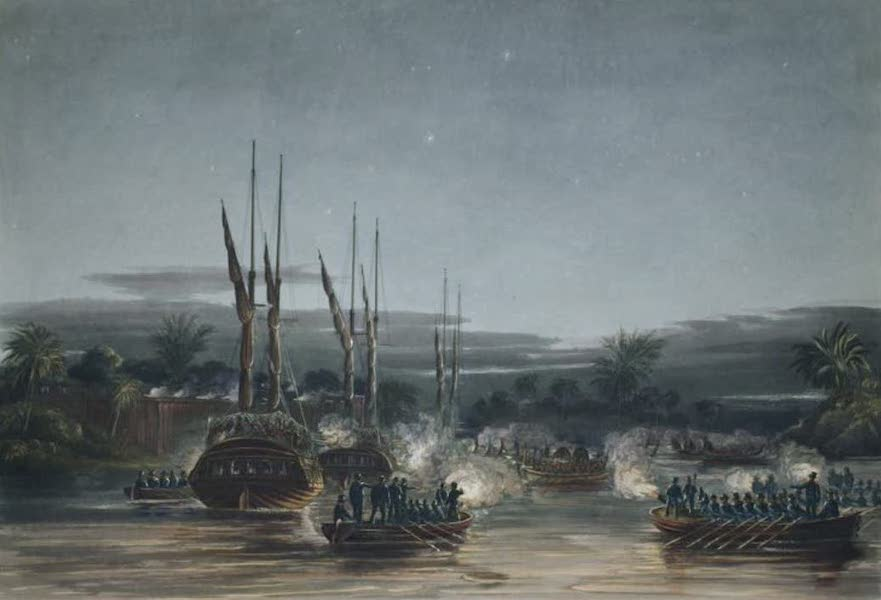 Eighteen Views taken at and near Rangoon - The attempt of the Birmans to retake the Stockades of Dalla on the night of the 6th September 1824 (1826)