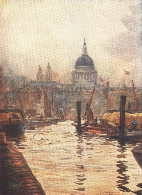 England - St. Paul's from the River Thames (1914)