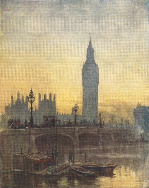 England - Houses of Parliament and Westminster Bridge, London (1914)