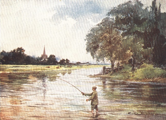 England - Trout-fishing on the Itchen, Hampshire (1914)