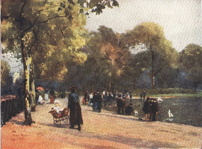 England - Sailing Boats on the Serpentine, Hyde Park, London (1914)