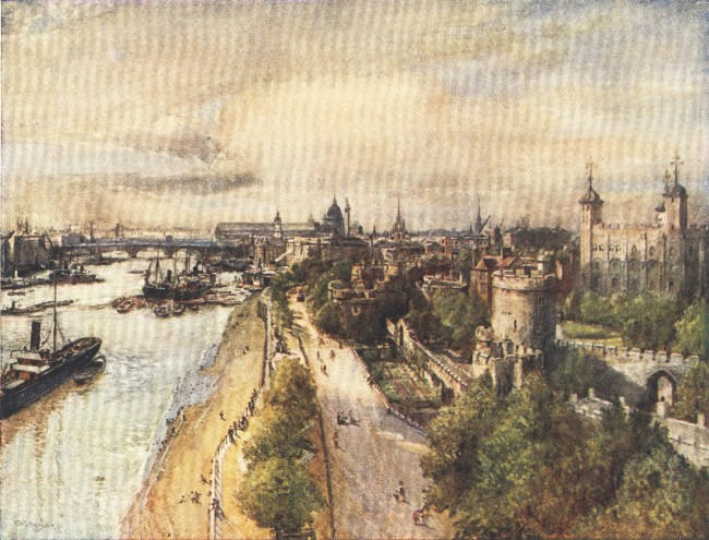 England - The Tower from the Tower Bridge, looking West (1914)