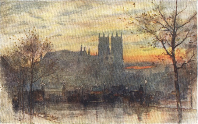 England - Westminster Abbey from the end of the Embankment (1914)