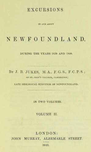 Excursions in and about Newfoundland Vol. 2 (1842)