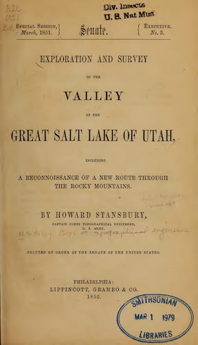 Aquatint & Lithography - Exploration and Survey of the Valley of the Great Salt Lake of Utah