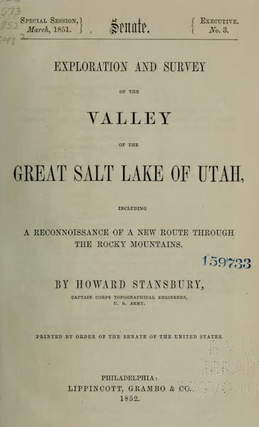 Exploration and Survey of the Valley of the Great Salt Lake of Utah - Title Page (1852)