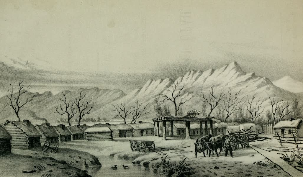 Exploration and Survey of the Valley of the Great Salt Lake of Utah - View of Fort Utah, on the Timpanogos (1852)