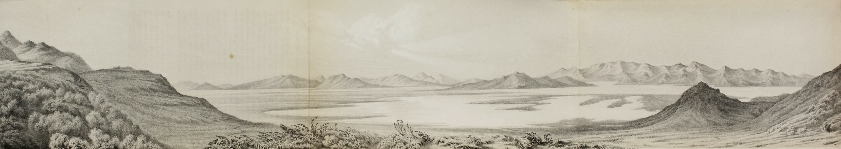 Exploration and Survey of the Valley of the Great Salt Lake of Utah - Panoramic View - Across Bear River Bay - Great Salt Lake (1852)