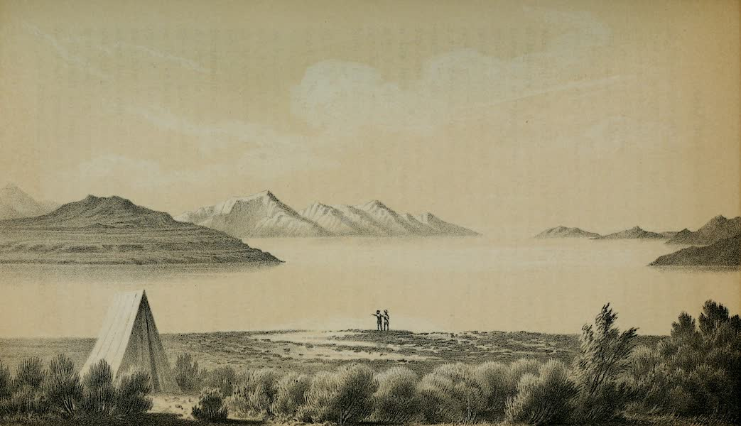 Exploration and Survey of the Valley of the Great Salt Lake of Utah - West End of Fremont Island, and Antelope Island from Alum Bay (1852)