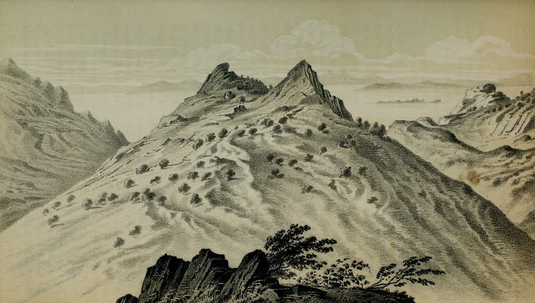 Exploration and Survey of the Valley of the Great Salt Lake of Utah - View looking North-west from Promontory Point (1852)