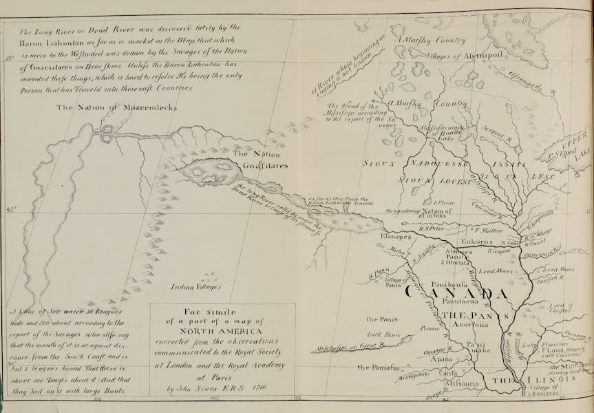 Exploration and Survey of the Valley of the Great Salt Lake of Utah - Baron La Hontan's Map of