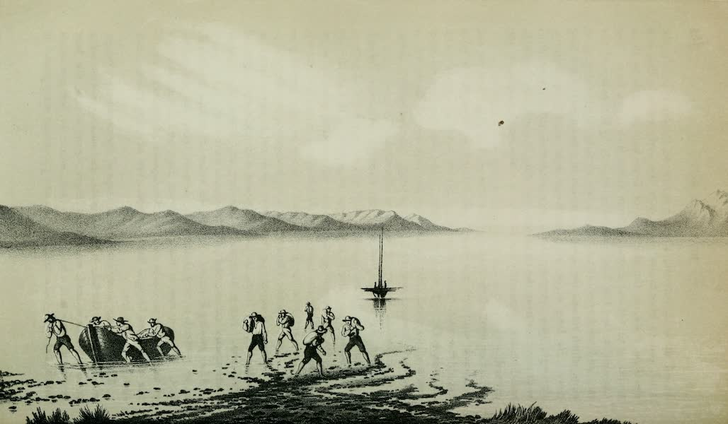 Exploration and Survey of the Valley of the Great Salt Lake of Utah - East End of Fremont's Island and Promontory Range, looking North (1852)