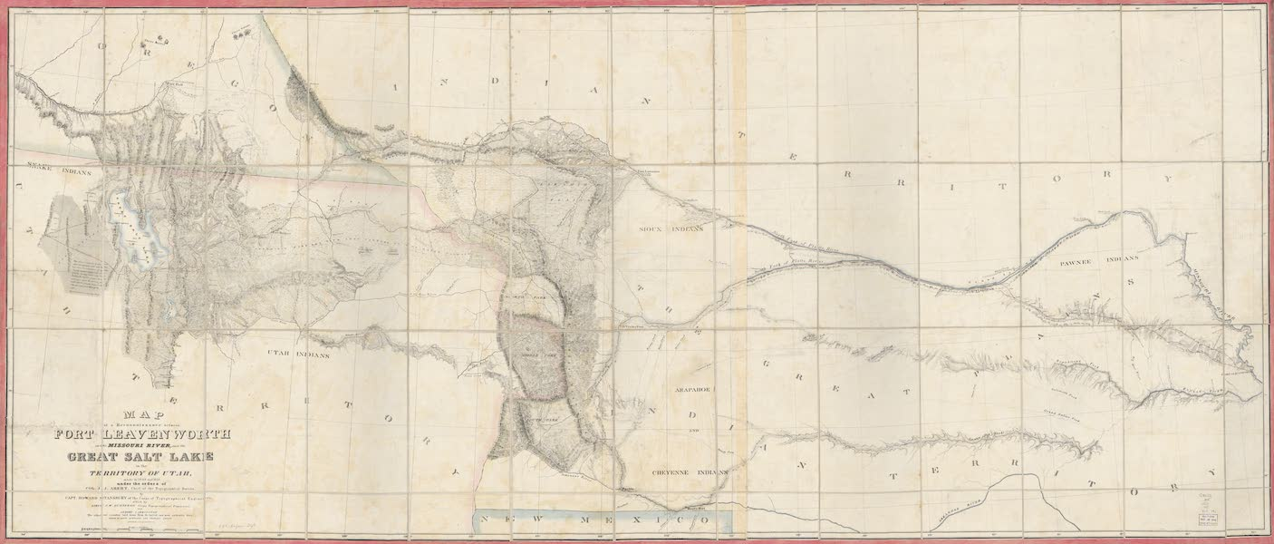 Exploration and Survey of the Valley of the Great Salt Lake of Utah - Map of the Reconnoissance of the Country between the Valley of the Great Salt Lake and the Missouri River, at Fort Leavenworth (1852)