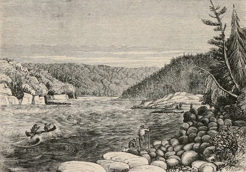 Explorations in the Interior of the Labrador Peninsula Vol. 1 - Canoes Crossing the Foot of the Grand Rapids (1863)