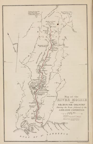 Explorations in the Interior of the Labrador Peninsula Vol. 1 - Map of the River Moisie and Adjoining Country (1863)