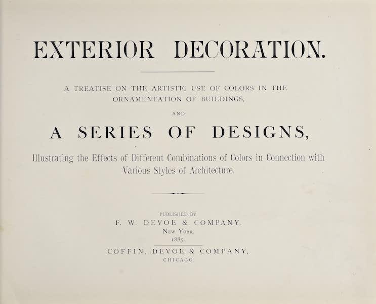 Exterior Decoration - Title Page (1885)