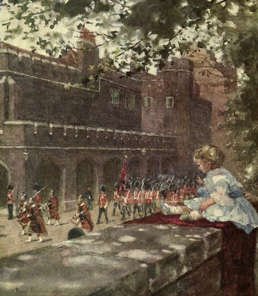 Familiar London Painted by Rose Barton - H.R.H Prince George of Wales watching the Shots Guards from Marlborough House (1904)