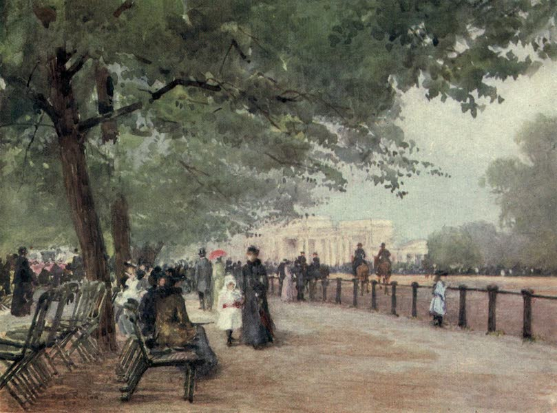Familiar London Painted by Rose Barton - The Row (1904)
