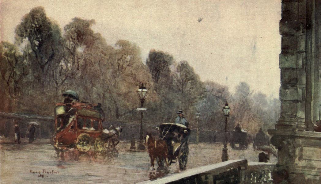 Familiar London Painted by Rose Barton - Grosvenor Place on a Wet Day (1904)