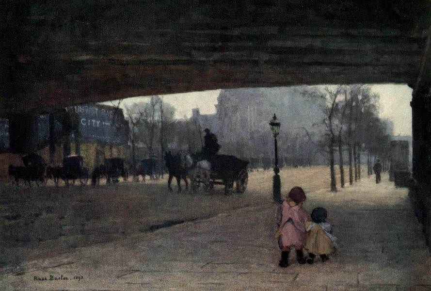 Familiar London Painted by Rose Barton - Under Hungerford Bridge (1904)