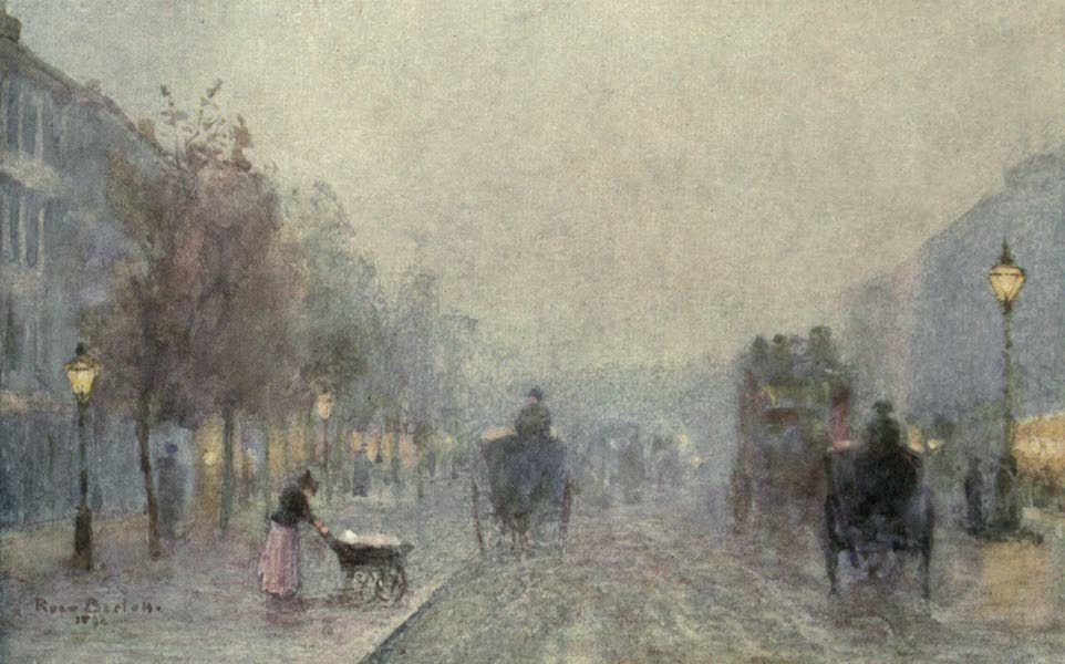 Familiar London Painted by Rose Barton - Brompton Road on a Foggy Evening (1904)