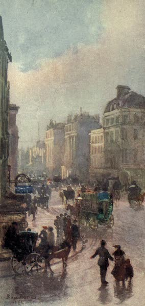 Familiar London Painted by Rose Barton - Oxford Street from the Corner of Bond Street (1904)