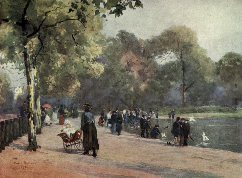 Familiar London Painted by Rose Barton - Sailing-boats on the Serpentine (1904)