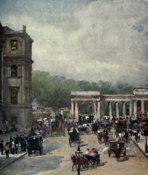Familiar London Painted by Rose Barton - The Crossing, Hyde Park Corner (1904)