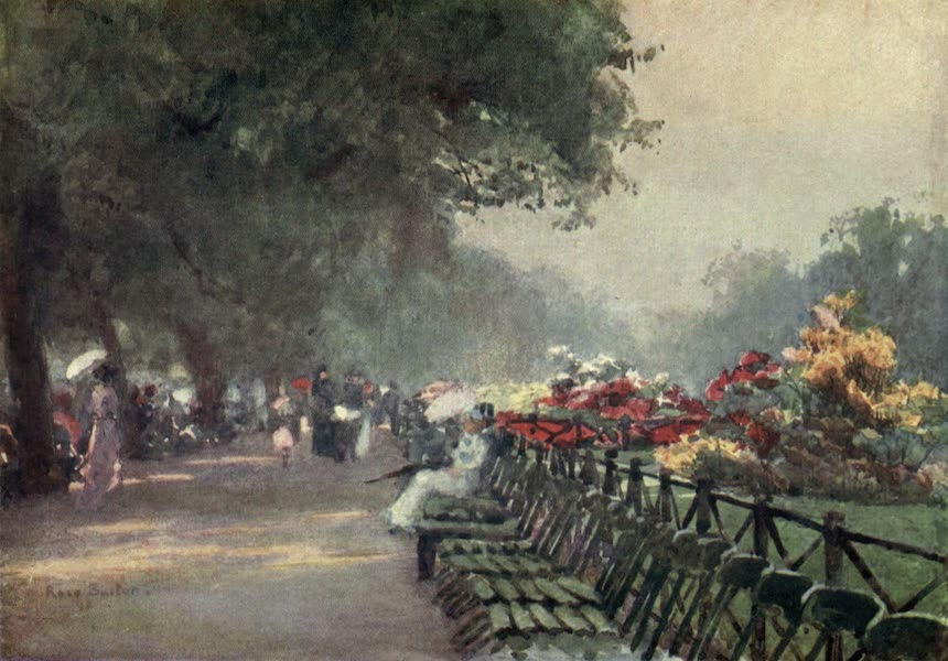 Familiar London Painted by Rose Barton - Azaleas in Bloom, Rotten Row (1904)