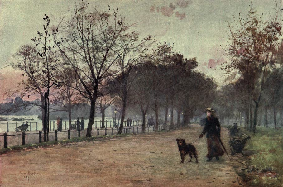 Familiar London Painted by Rose Barton - By the Ring, Hyde Park : Evening (1904)