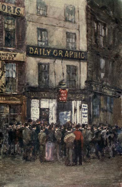 Familiar London Painted by Rose Barton - In the Strand : Waiting for Election News (1904)