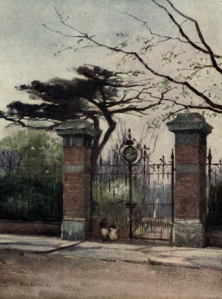 Familiar London Painted by Rose Barton - Entrance to the Apothecaries' Garden (1904)