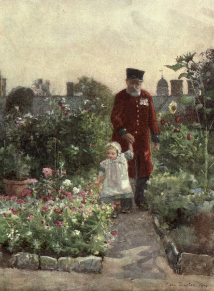 Familiar London Painted by Rose Barton - The Pensioners' Garden, Royal Hospital, Chelsea (1904)
