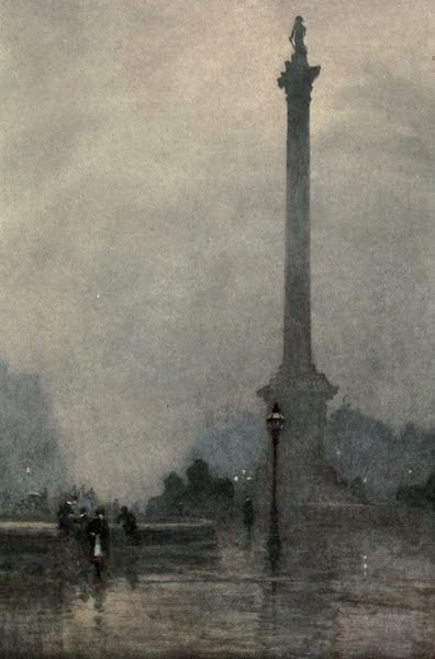 Familiar London Painted by Rose Barton - Nelson's Column in a Fog (1904)