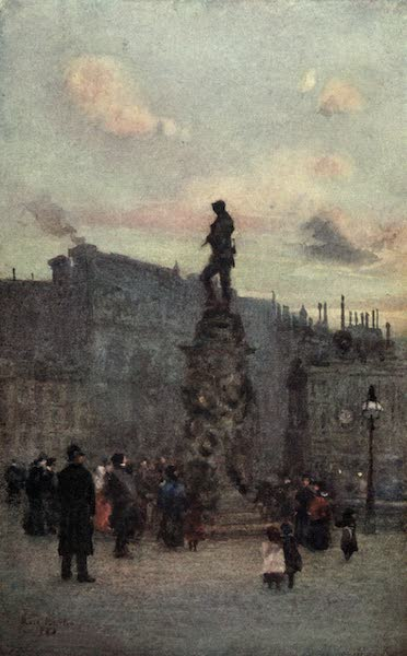 Familiar London Painted by Rose Barton - Gordon's Statue (1904)