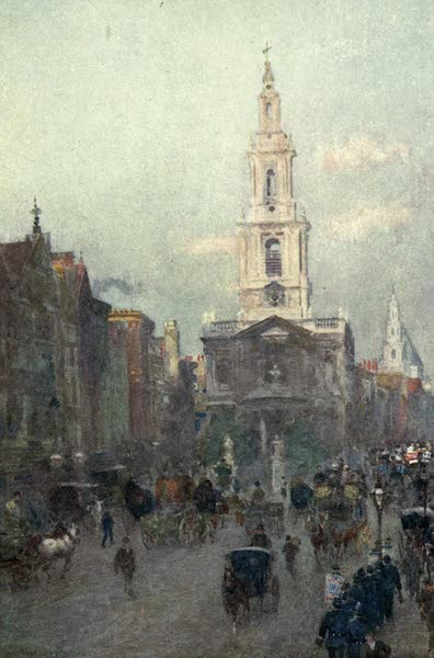 Familiar London Painted by Rose Barton - St Mary's-le-Strand (1904)
