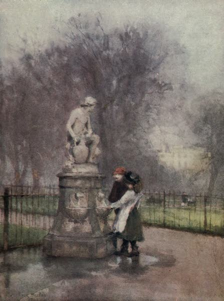 Familiar London Painted by Rose Barton - Drinking - fountain in St James's Park (1904)