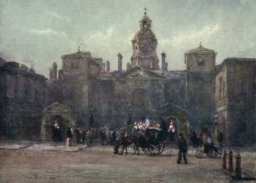 Familiar London Painted by Rose Barton - Changing Guard, Whitehall (1904)