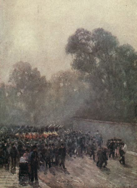 Familiar London Painted by Rose Barton - The Guards marching near St James's Palace (1904)