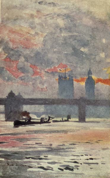 Familiar London Painted by Rose Barton - The Thames, Charing Cross (1904)