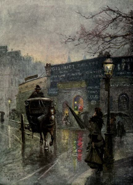 Familiar London Painted by Rose Barton - South Kensington Station (1904)