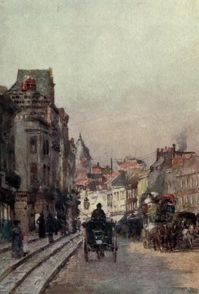 Familiar London Painted by Rose Barton - Brompton Road, looking East (1904)