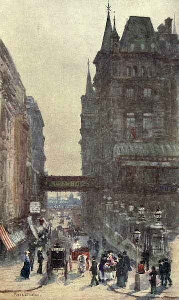 Familiar London Painted by Rose Barton - Villiers Street, Charing Cross (1904)