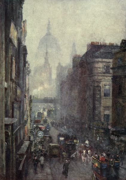 Familiar London Painted by Rose Barton - Fleet Street (1904)
