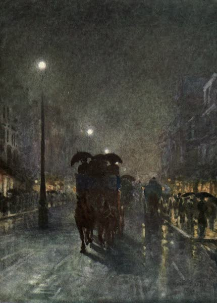 Familiar London Painted by Rose Barton - Tottenham Court Road (1904)