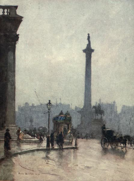 Familiar London Painted by Rose Barton - Nelson's Column, and Portico of St Martin's-in-the-Fields (1904)